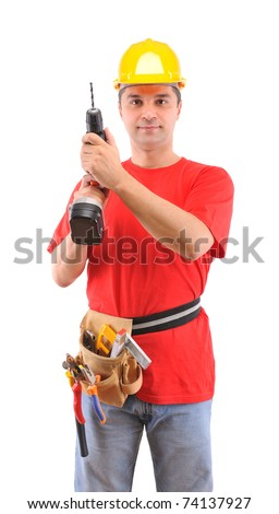 Manual worker using battery drill isolated on white background - a series of MANUAL WORKER images. - stock photo