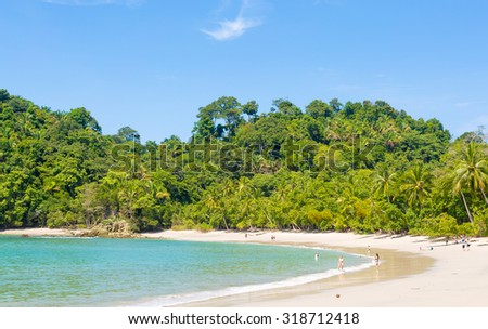 Manuel Antonio National Park, Costa Rica, beach and forest coastline in a sunny day - stock photo