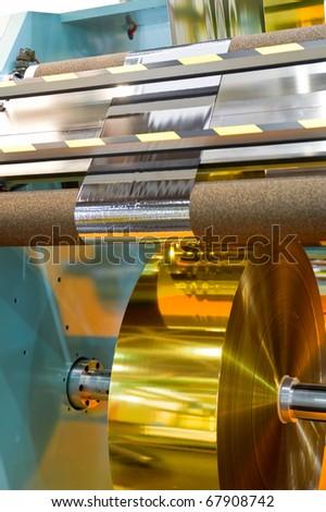 Manufacture of plastic film - stock photo