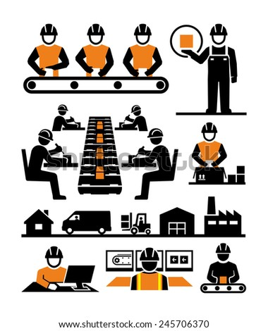 Manufacturing process assembly workers icons - stock photo