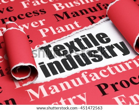 Manufacuring concept: black text Textile Industry under the curled piece of Red torn paper with  Tag Cloud, 3D rendering