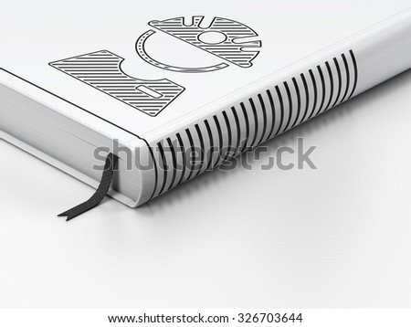 Manufacuring concept: closed book with Black Factory Worker icon on floor, white background, 3d render - stock photo