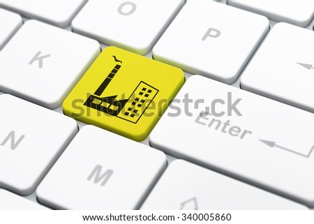 Manufacuring concept: computer keyboard with Industry Building icon on enter button background, selected focus, 3d render - stock photo