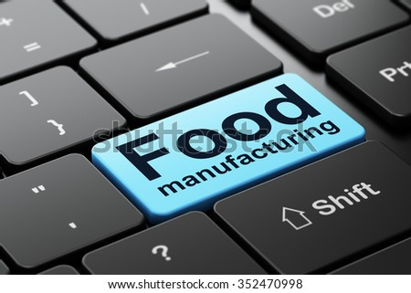 Manufacuring concept: computer keyboard with word Food Manufacturing, selected focus on enter button background, 3d render - stock photo