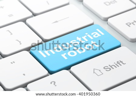 Manufacuring concept: computer keyboard with word Industrial Robot, selected focus on enter button background, 3D rendering - stock photo