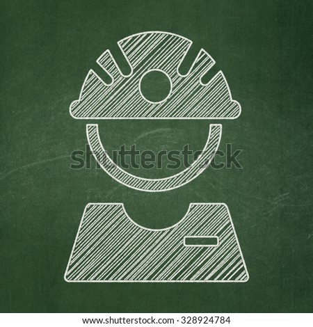 Manufacuring concept: Factory Worker icon on Green chalkboard background - stock photo