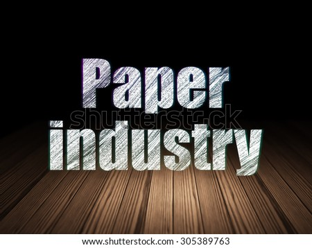 Manufacuring concept: Glowing text Paper Industry in grunge dark room with Wooden Floor, black background, 3d render