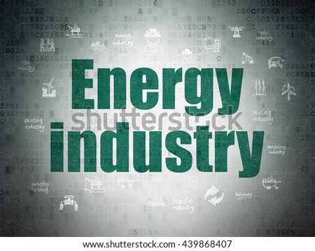 Manufacuring concept: Painted green text Energy Industry on Digital Data Paper background with  Hand Drawn Industry Icons