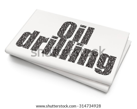Manufacuring concept: Pixelated black text Oil Drilling on Blank Newspaper background