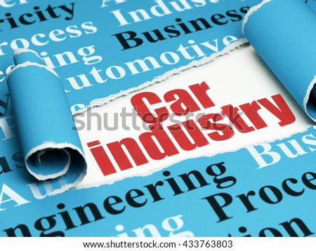 Manufacuring concept: red text Car Industry under the curled piece of Blue torn paper with  Tag Cloud, 3D rendering