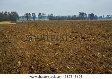manure on the field. Plowed field in the spring - stock photo