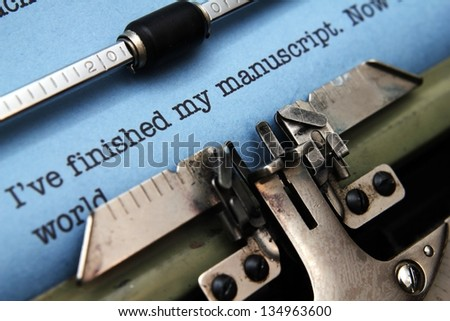 Manuscript on typewriter machine - stock photo