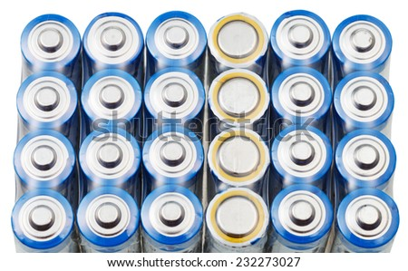 many AA electric batteries close up isolated on white background