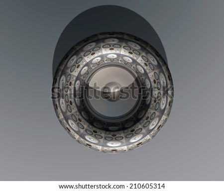 Many abstract black modern speakers in form of donut - stock photo