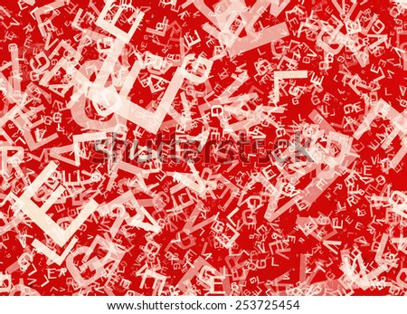 many abstract chaotic white alphabet letters on red backgrounds - stock photo