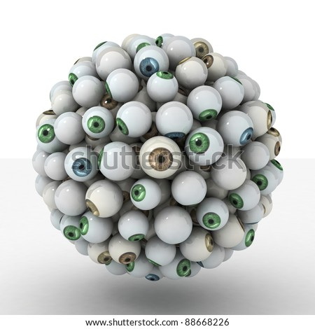 Many abstract Eyeball in form of sphere isolated on white background. 3d Illustration. Close-up - stock photo