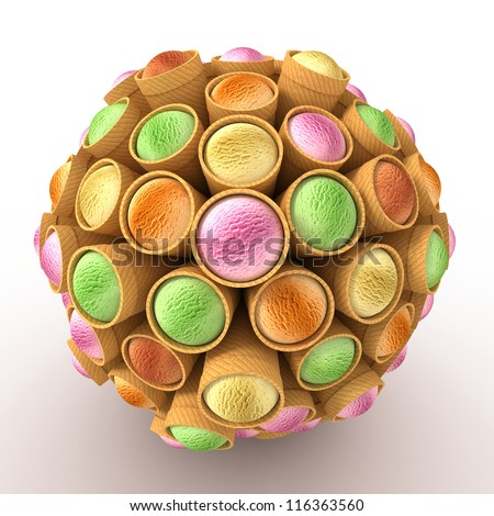 Many abstract ice cream in form of sphere isolated on white background. 3d Illustration. Close-up - stock photo