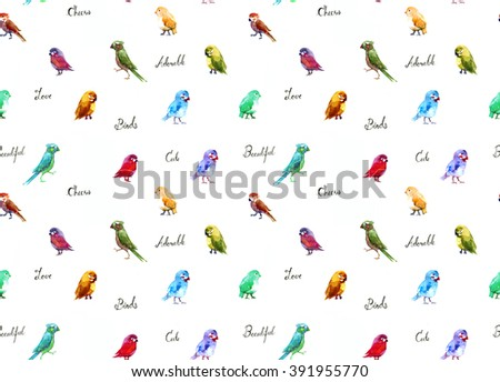 Many adorable colorful birds watercolor on paper with text - stock photo