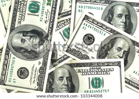 many american dollars in one plane, one hundred - stock photo