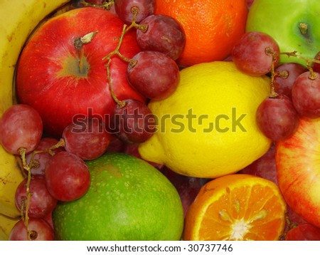 Many appetizing fruit.Version 2!  Continuation of these subjects look in my portfolio. - stock photo