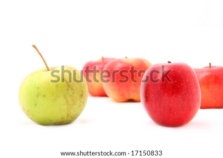 many apples in background with two apples in foreground