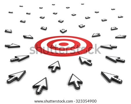 Many arrow cursors mouse aiming to target or dart board isolated on white background with reflection - stock photo