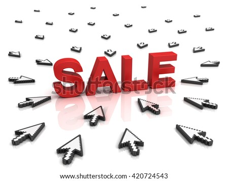 Many arrow cursors mouse clicking red word sale button or link isolated on white background with reflection. 3D rendering.