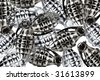 Many artifical silver grenades on white background - stock photo