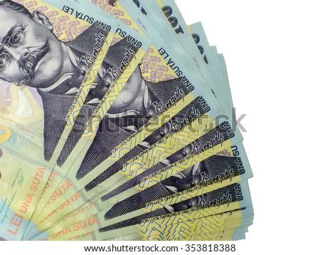 Many banknotes of one hundred romanian lei - stock photo
