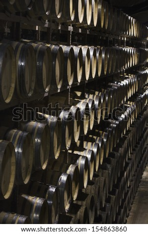 Many Barrels of wine in perspective
