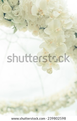 many beautiful flowers wedding marquee - stock photo