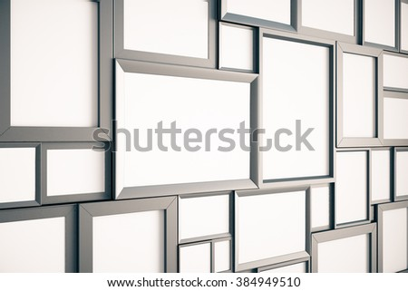 Many blank brown wooden pictures frames on the wall, mock up, 3D render