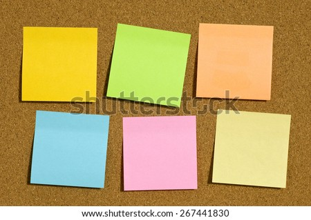 Many Blank  Notes With Copy Space On Corkboard - stock photo