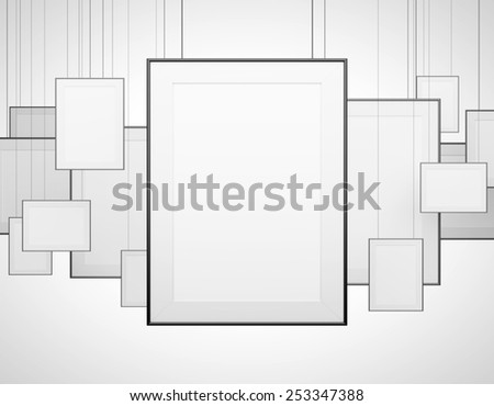 many blank poster hanging on a gray background