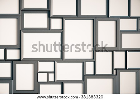 Many blank wooden picture frames on the wall, mock up 3D Render