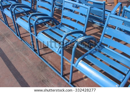 Many Blue chairs on Promenade des Anglais, Nice, France