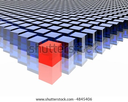 many blue cubes and one red