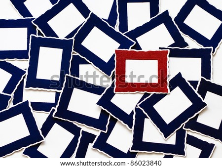 Many Blue & One Red Frames - stock photo