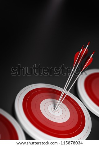 many blue targets and three arrows reaching the center of the first one, image with blur effect, A4 vertical format.  Target market, strategic marketing or business competitive advantage concept. - stock photo