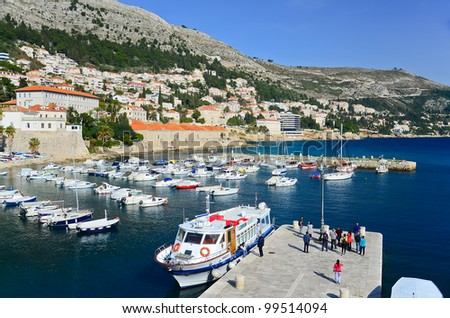 many boats at port of Dubrovnik, Croatia