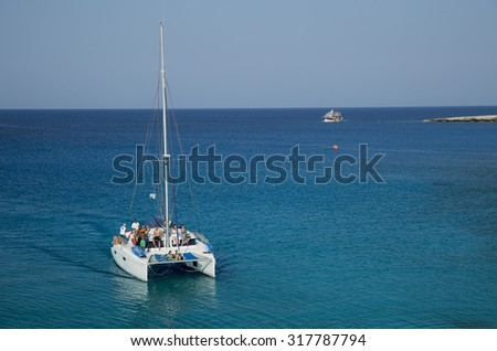 Many boats on Cape Greco, Cyprus, jully 2015