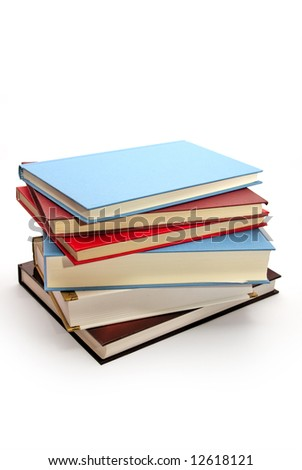 many books on the white background