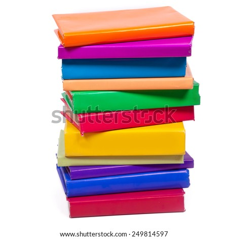 Many books with bright covers on white background