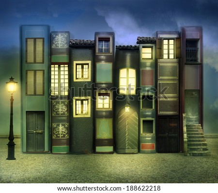 Many books with windows doors lamps in a external background in the night - stock photo