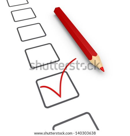 Many boxes and a check mark on one of them with a pencil - stock photo
