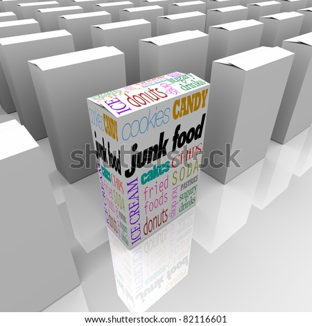 Many boxes on a store shelf, one with various words representing junk food that promise nothing but empty calories and no nutritional value - stock photo