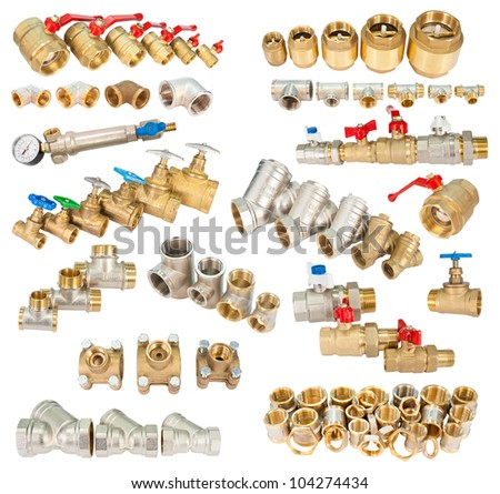 many brass (copper) fittings, valves, filters, isolated in a set - stock photo