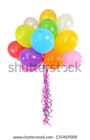 Many bright balloons isolated on white - stock photo