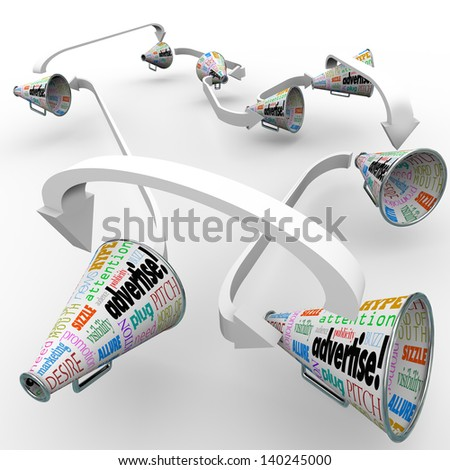 Many bullhorns or megaphones with the word Advertise and other terms such as attention, pitch, publicity, and marketing to get the message out on your business or product - stock photo