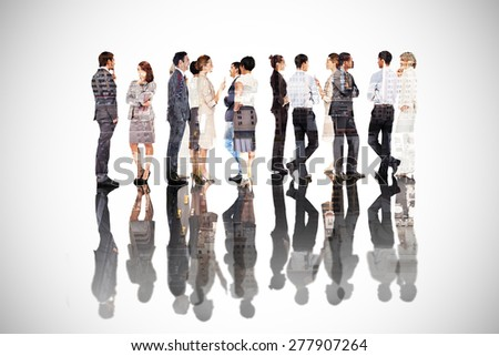 Many business people standing in a line against new york - stock photo